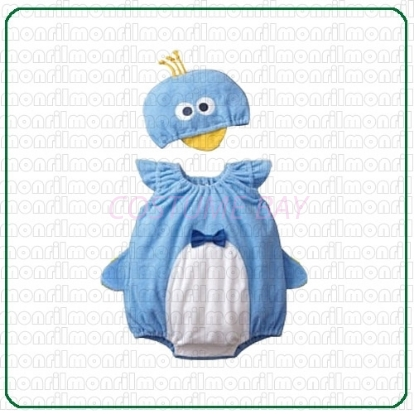 Picture of Baby Rompers Onesie Bodysuit with Hat - Blue Penguin
