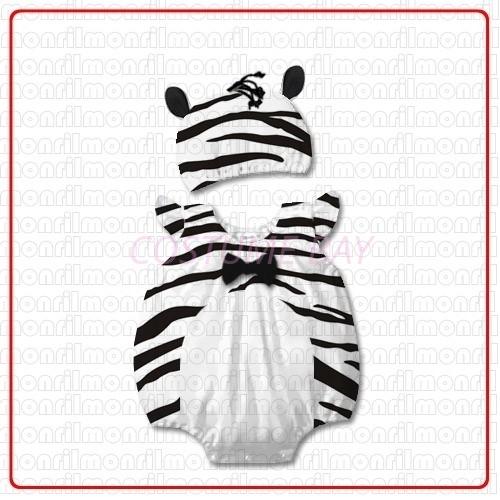 Picture of Baby Rompers Onesie Bodysuit with Hat - Zebra