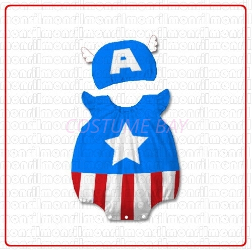 Picture of Baby Rompers Onesie Bodysuit with Hat-CaptainAmerica