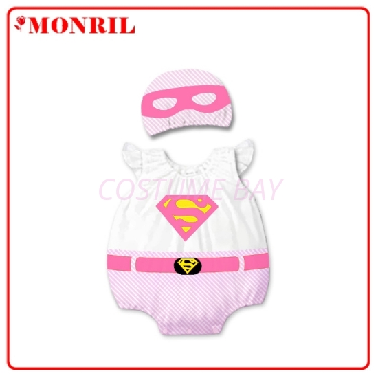 Picture of Baby Rompers Onesie Bodysuit with Hat - Pink Supergirl