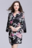 Picture of Women Floral Satin Kimono Robes - Navy