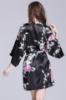 Picture of Women Floral Satin Kimono Robes - Black