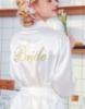 """Picture of Women Bridal """"Bride"""" Satin Kimono Robes - White"""