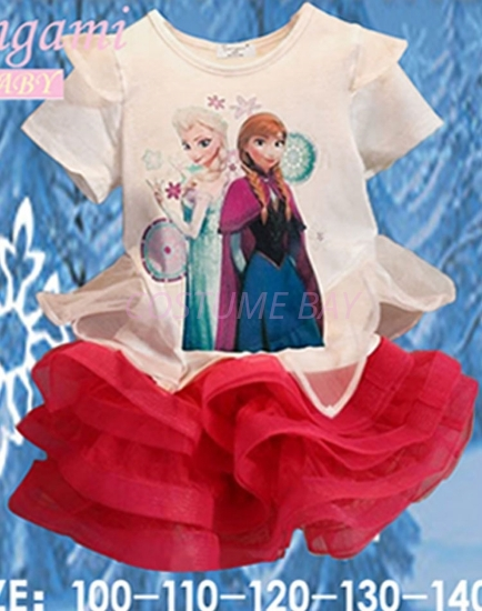 Picture of Girls Frozen Elsa Anna T-shirt with Red Tutu Skirt