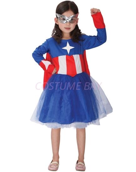 Picture of Girls Captain America Superhero Costume