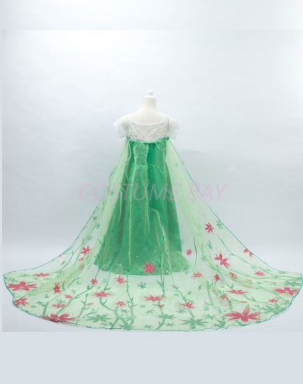 Picture of Princess Queen Elsa Frozen Fever Green Dress with Long Cape