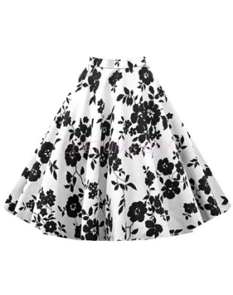 Picture of 50s 60s Vintage Rockabilly Swing Skirt - With BlackFlower