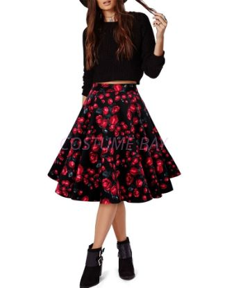 Picture of 50s 60s Vintage Rockabilly Swing Skirt - Black with Rose