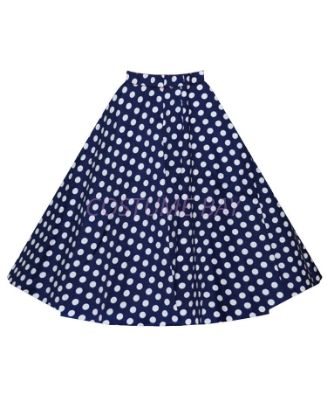 Picture of 50s 60s Vintage Rockabilly Swing Skirt - Blue&White Spot