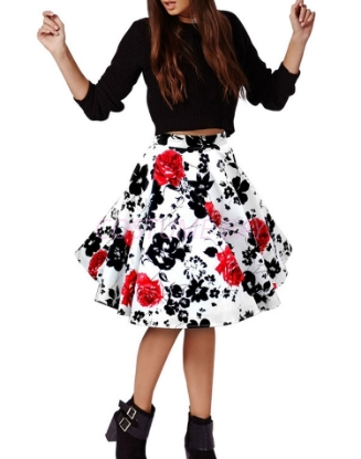 Picture of 50s 60s Vintage Rockabilly Swing Skirt - With Red Flower