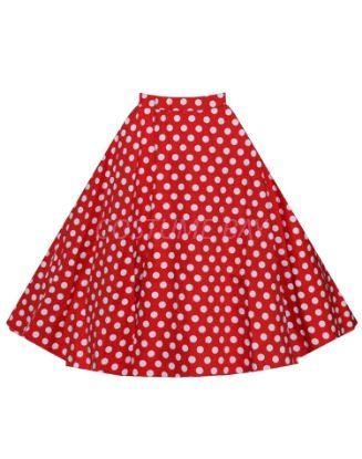 Picture of 50s 60s Vintage Rockabilly Swing Skirt - Red&White Spot