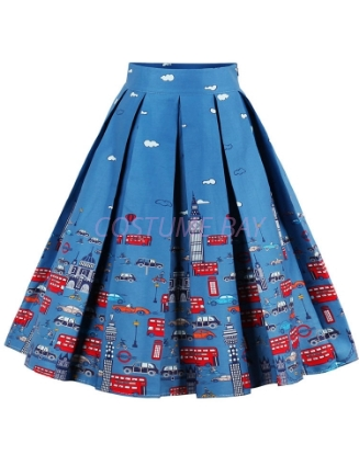 Picture of Xmas 50s 60s Vintage Rockabilly Swing Skirt - Skirt Blue