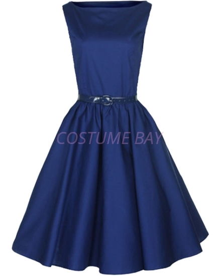 Picture of Rockabilly 50s 60s Vintage Evening Retro Pinup Swing Cocktail Dress-DarkBlue