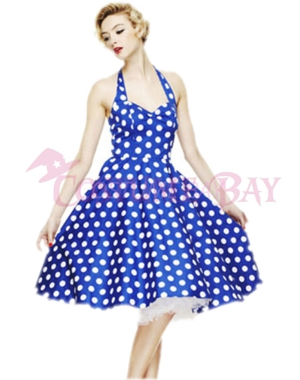 Picture of Rockabilly 50s 60s Vintage Evening Retro Pinup Swing Cocktail Dress-BlueWhite