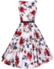 Picture of Rockabilly 50s 60s Vintage Evening Retro Pinup Swing Cocktail Dress-White with red flower