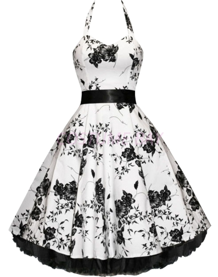 Picture of Rockabilly 50s 60s Vintage Evening Retro Pinup Swing Cocktail Dress-White black flower