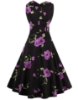 Picture of Women 50s Rockabilly Vintage Evening Retro Pinup Swing Housewife Polka Dot Dress-Purple Flower