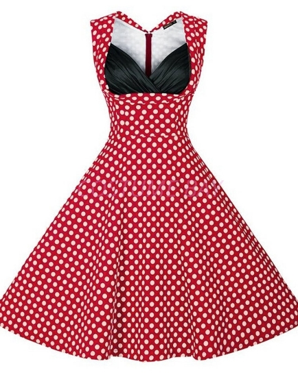 Picture of Women 50s Rockabilly Vintage Evening Retro Pinup Swing Housewife Polka Dot Dress-Red