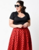 Picture of Rockabilly 50s 60s Vintage Evening Retro Pinup Swing Cocktail Dress-Plus Size Black & Red