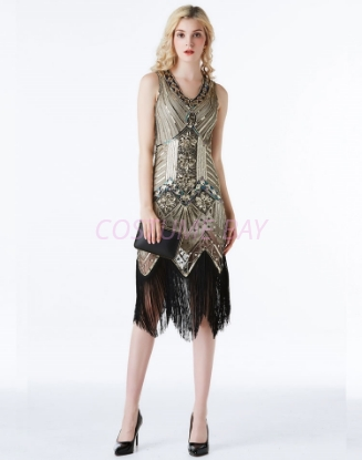 Picture of 1920s Charleston Deluxe Sequins Flapper Costume - Gold
