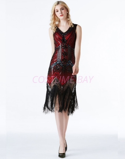 Picture of 1920s Charleston Deluxe Sequins Flapper Costume - Red