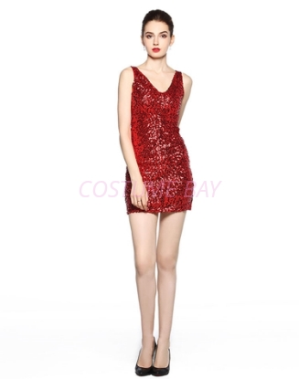 Picture of 1920s Flapper Cocktail Sequin Dress - Red
