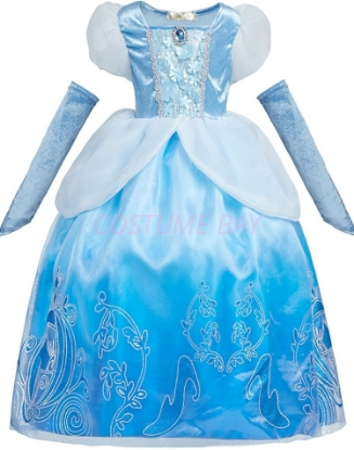Picture of Kids Girls Cinderella Dress Birthday Party Princess Dresses Cosplay Costume