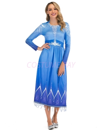 Picture of Adult Ladies Deluxe Frozen 2 Princess Elsa Costume Dress