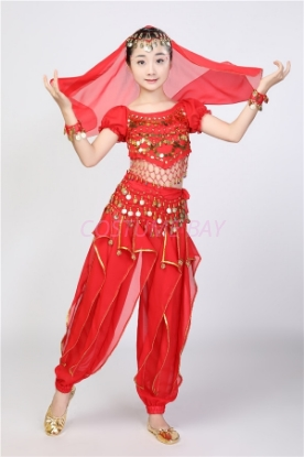 Picture of Girl's Belly Dance Outfits Paillette Ruffles Short Sleeves -Red