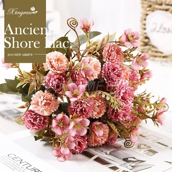 Picture of 2pcs Bouquet 11 Heads 5 Branches Artificial Lilac Flowers