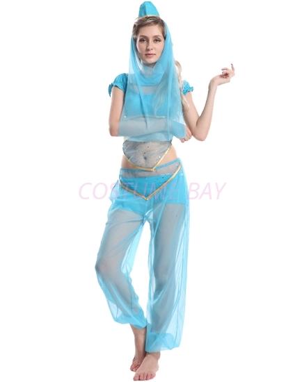 Picture of Womens  Aladdin Belly Dance Fancy Dress - Blue