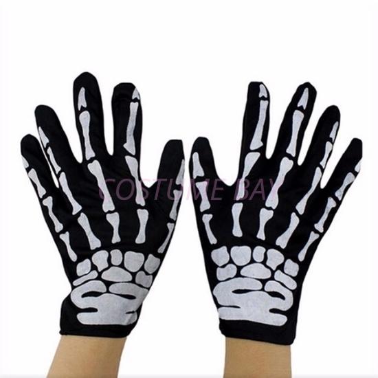 Picture of Black Skeleton Bones Zombie Gloves
