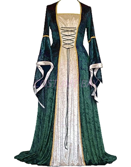 Picture of Womens Medieval Gothic Renaissance Gown Costume - Green