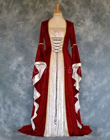 Picture of Womens Medieval Gothic Renaissance Gown Costume - Wine Red