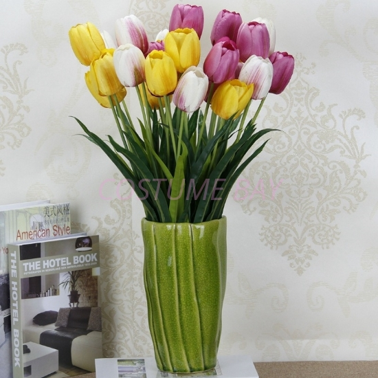 Picture of Bouquet 3 Heads Fake Tulip Artificial Silk Flower