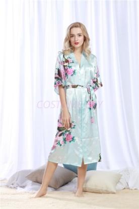 Picture of Women Long Floral Satin Kimono Robes - Blue
