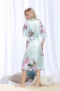 Picture of Women Long Floral Satin Kimono Robes - Blue