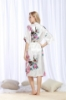 Picture of Women Long Floral Satin Kimono Robes - Navy