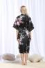 Picture of Women Long Floral Satin Kimono Robes - White