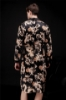 Picture of Womens Mens Satin Dressing Gown Robe Sleepwear for Couple - Black
