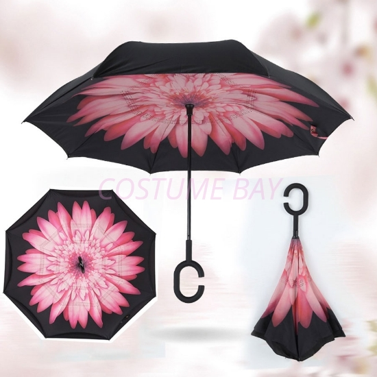 Picture of Upside Down Reverse Umbrella - Pink Daisy