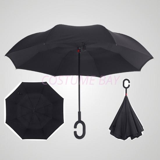Picture of Upside Down C-Handle Reverse Umbrella - Black
