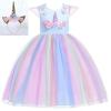 Picture of Girls Princess Unicorn Rainbow Tutu Dress-Blue