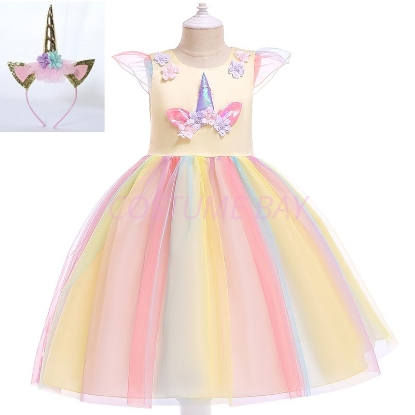 Picture of Girls Princess Unicorn Rainbow Tutu Dress-Yellow