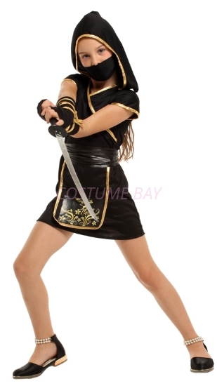 Picture of Girls Black Golden Ninja Warrior Costume for Book Week