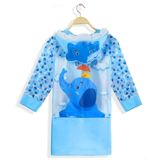 Picture of Children's Animal Waterproof Raincoat with Backpack Cover -Elephant