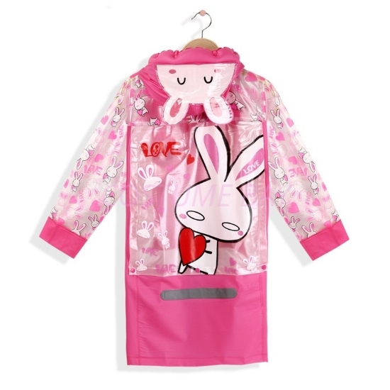 Picture of Children's Animal Waterproof Raincoat with Backpack Cover -Rabbit