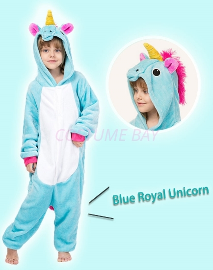 Picture of Kids Blue Royal Unicorn Onesie