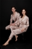Picture of Womens Mens Satin Dressing Gown Robe Sleepwear for Couple - Camel