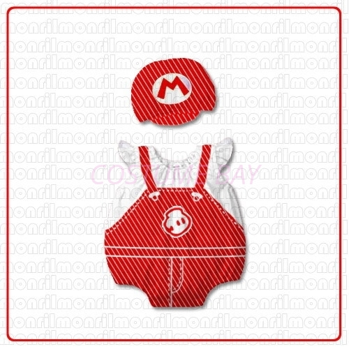 Picture of Baby Rompers Onesie Bodysuit with Hat - Mario
